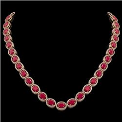 52.15 CTW Ruby & Diamond Necklace Rose Gold 10K Rose Gold - REF-655K3W - 40950