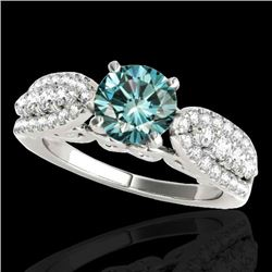 2 CTW SI Certified Fancy Blue Diamond Solitaire Ring 10K White Gold - REF-254H5M - 35273