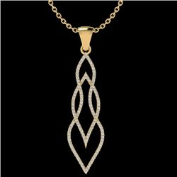 0.80 CTW Micro Pave VS/SI Diamond Certified Necklace 14K Yellow Gold - REF-78M2F - 20388