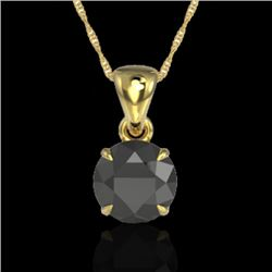 2 CTW Black VS/SI Diamond Certified Inspired Solitaire Necklace 18K Yellow Gold - REF-63Y6X - 22016