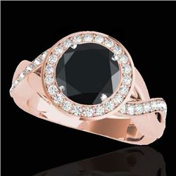 2 CTW Certified VS Black Diamond Solitaire Halo Ring 10K Rose Gold - REF-94M7F - 33280