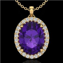 2.75 CTW Amethyst & Micro VS/SI Diamond Halo Solitaire Necklace 18K Yellow Gold - REF-46A2V - 20577