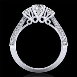 1.81 CTW VS/SI Diamond Art Deco 3 Stone Ring 18K White Gold - REF-262N5A - 37145