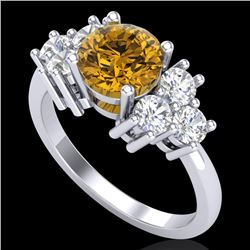 2.1 CTW Intense Fancy Yellow Diamond Solitaire Classic Ring 18K White Gold - REF-290K9W - 37609