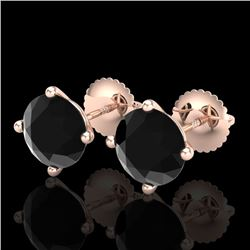 3.01 CTW Fancy Black Diamond Solitaire Art Deco Stud Earrings 18K Rose Gold - REF-120X2R - 38256