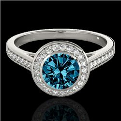 1.30 CTW SI Certified Fancy Blue Diamond Solitaire Halo Ring 10K White Gold - REF-168X4R - 33630