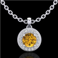 1 CTW Intense Fancy Yellow Diamond Solitaire Art Deco Necklace 18K White Gold - REF-138H2M - 37665