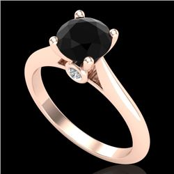 1.36 CTW Fancy Black Diamond Solitaire Engagement Art Deco Ring 18K Rose Gold - REF-89K3W - 38207