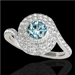 1.86 CTW SI Certified Fancy Blue Diamond Solitaire Halo Ring 10K White Gold - REF-180X2R - 34509