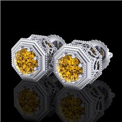 1.07 CTW Intense Fancy Yellow Diamond Art Deco Stud Earrings 18K White Gold - REF-132R7K - 37938