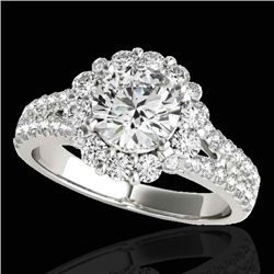 2.01 CTW H-SI/I Certified Diamond Solitaire Halo Ring 10K White Gold - REF-209W3H - 33931