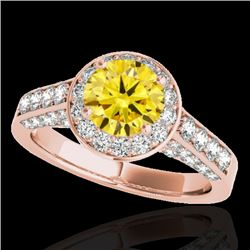 1.80 CTW Certified SI/I Fancy Intense Yellow Diamond Solitaire Halo Ring 10K Rose Gold - REF-178F2N