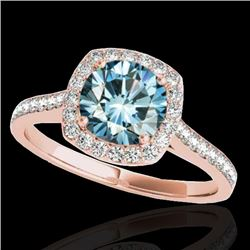 1.40 CTW SI Certified Fancy Blue Diamond Solitaire Halo Ring 10K Rose Gold - REF-200F2N - 34190