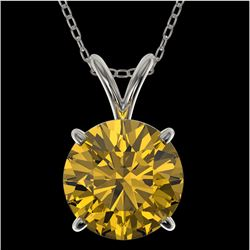 2 CTW Certified Intense Yellow SI Diamond Solitaire Necklace 10K White Gold - REF-492X2R - 33238