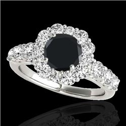 2.25 CTW Certified VS Black Diamond Solitaire Halo Ring 10K White Gold - REF-114F2N - 33385