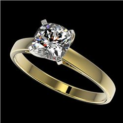 1 CTW Certified VS/SI Quality Cushion Cut Diamond Solitaire Ring 10K Yellow Gold - REF-297F2N - 3299