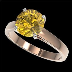 2.50 CTW Certified Intense Yellow SI Diamond Solitaire Ring 10K Rose Gold - REF-579M2F - 33048