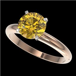 2 CTW Certified Intense Yellow SI Diamond Solitaire Engagement Ring 10K Rose Gold - REF-527F3N - 329