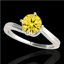 1 CTW Certified SI/I Fancy Intense Yellow Diamond Bypass Solitaire Ring 10K White Gold - REF-141K3W