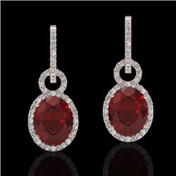 8 CTW Garnet & Micro Pave Solitaire Halo VS/SI Diamond Earrings 14K Rose Gold - REF-100N2A - 22737