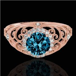 1.22 CTW SI Certified Fancy Blue Diamond Solitaire Halo Ring 10K Rose Gold - REF-170X9R - 33784
