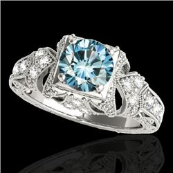 1.25 CTW SI Certified Blue Diamond Solitaire Antique Ring 10K White Gold - REF-172N7A - 34671