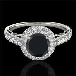 1.65 CTW Certified VS Black Diamond Solitaire Halo Ring 10K White Gold - REF-86H5M - 33700