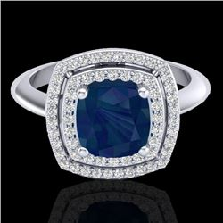 2.52 CTW Sapphire & Micro VS/SI Diamond Certified Pave Halo Ring 18K White Gold - REF-77F3N - 20768