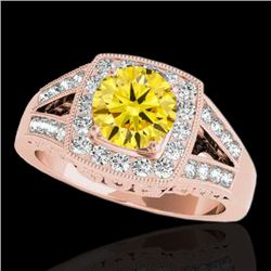 1.65 CTW Certified SI/I Fancy Intense Yellow Diamond Solitaire Halo Ring 10K Rose Gold - REF-289R3K