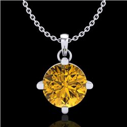 1 CTW Intense Fancy Yellow Diamond Solitaire Art Deco Necklace 18K White Gold - REF-154F5N - 38078