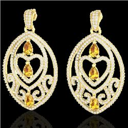 7 CTW Sapph Yell & Micro Pave VS/SI Diamond Heart Earrings 18K Yellow Gold - REF-381R8K - 21167