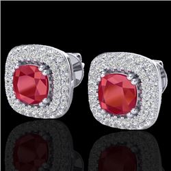 2.16 CTW Ruby & Micro VS/SI Diamond Earrings Solitaire Double Halo 18K White Gold - REF-105Y6X - 203
