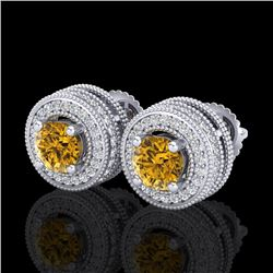 2.09 CTW Intense Fancy Yellow Diamond Art Deco Stud Earrings 18K White Gold - REF-218Y2X - 38015