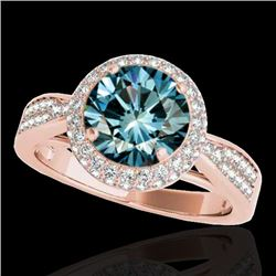 1.65 CTW SI Certified Fancy Blue Diamond Solitaire Halo Ring 10K Rose Gold - REF-180A2V - 34411