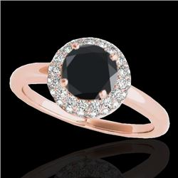 1.43 CTW Certified VS Black Diamond Solitaire Halo Ring 10K Rose Gold - REF-65K6W - 33665