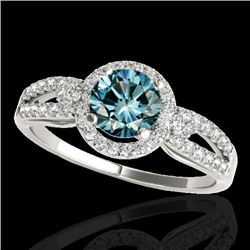 1.25 CTW SI Certified Fancy Blue Diamond Solitaire Halo Ring 10K White Gold - REF-161F8N - 34092