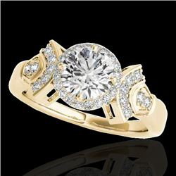 1.56 CTW H-SI/I Certified Diamond Solitaire Halo Ring 10K Yellow Gold - REF-209Y3X - 34330