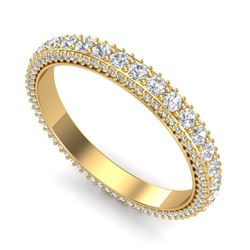 2.50 CTW VS/SI Diamond Art Deco Eternity Men's Band Size 10 18K Yellow Gold - REF-200R2K - 37210