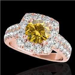 2.5 CTW Certified SI/I Fancy Intense Yellow Diamond Solitaire Halo Ring 10K Rose Gold - REF-260V2Y -