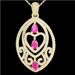 3.50 CTW Pink Sapphire & Micro VS/SI Diamond Heart Necklace 18K Yellow Gold - REF-218N2A - 21291