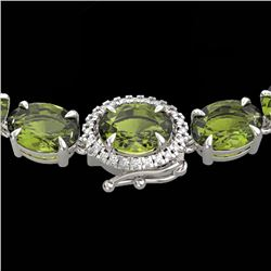 66 CTW Green Tourmaline & VS/SI Diamond Tennis Micro Halo Necklace 14K White Gold - REF-531M6F - 234