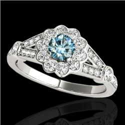 1.65 CTW SI Certified Fancy Blue Diamond Solitaire Halo Ring 10K White Gold - REF-180F2N - 34036