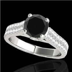 2.11 CTW Certified VS Black Diamond Pave Ring 10K White Gold - REF-88X9R - 35467