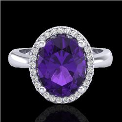 2.50 CTW Amethyst And Micro Pave VS/SI Diamond Ring Halo 18K White Gold - REF-52F7N - 21092