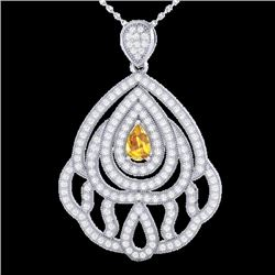 2 CTW Yellow Sapphire & Micro VS/SI Diamond Designer Necklace 18K White Gold - REF-178H2M - 21277