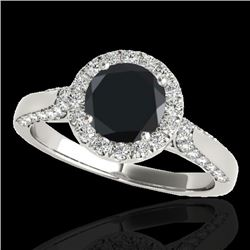 2.15 CTW Certified VS Black Diamond Solitaire Halo Ring 10K White Gold - REF-96K9W - 33574