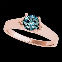 1 CTW SI Certified Fancy Blue Diamond Solitaire Ring 10K Rose Gold - REF-141X8R - 35161