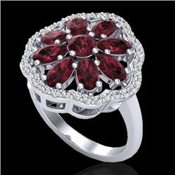 3 CTW Garnet & VS/SI Diamond Certified Cluster Designer Halo Ring 10K White Gold - REF-52F2N - 20782