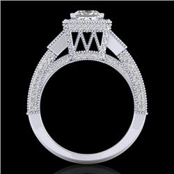 3.53 CTW Princess VS/SI Diamond Micro Pave 3 Stone Ring 18K White Gold - REF-618F2N - 37175