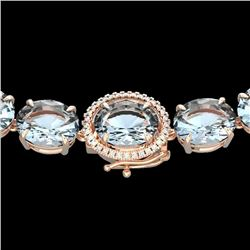 136 CTW Aquamarine & VS/SI Diamond Halo Micro Eternity Necklace 14K Rose Gold - REF-1363K6W - 22288